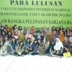 Para Lulusan Semester Ganjil Tahun Akademik 2012 - 2013, Fakultas Ekonomi UNAS fhoto bersama Dosen Pembimbing